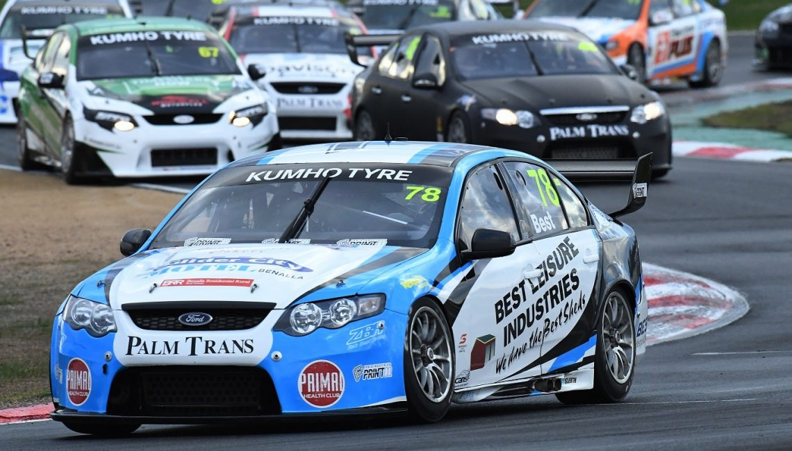 Zak Best already ahead of the chasing pack off the start line during the Kumho Tyre Super3 Series at Winton Raceway 2019